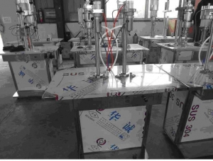 emiautomatic double heads aerosol liquid filling machine