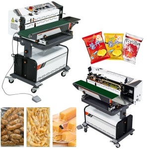 fully auto continuous snacks pouch vacuum sealing machine with nitrogen gas flashing