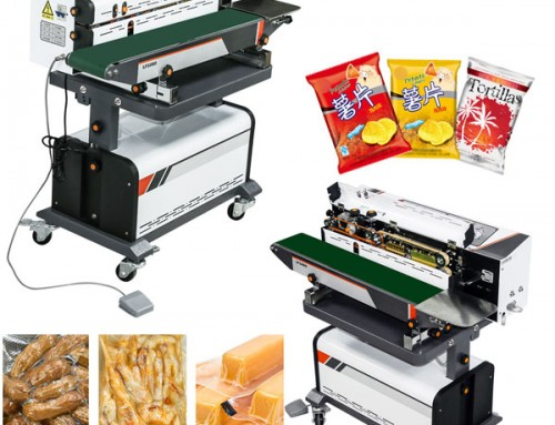 Fully auto continuous food pouch vacuum sealing machine